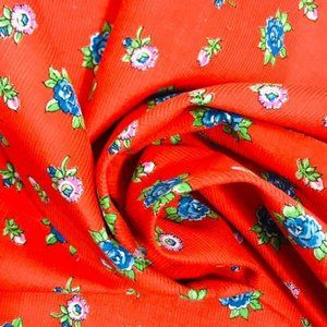 Vintage Small Corduroy Fabric Floral